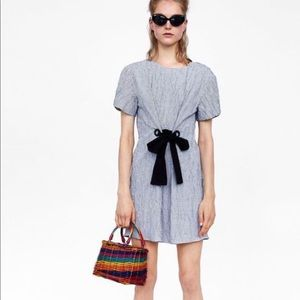 Zara Creased Effect Checkered Dress with Bow